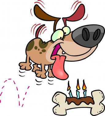 Cartoon Dog Birthday Bone
