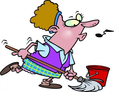 Cartoon Woman Cleaning