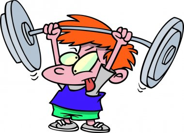 Cartoon Boy Lifting Weights