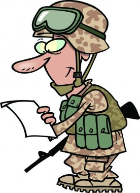 Cartoon Soldier Reading Letter from Home
