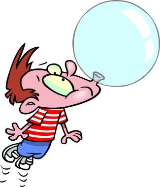 Cartoon boy blowing bubble gum
