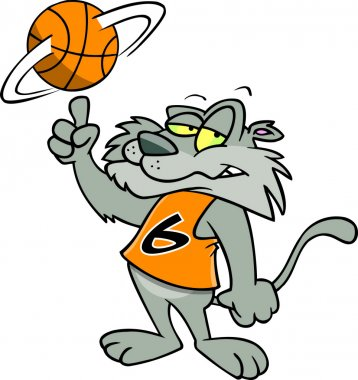 Cartoon Wildcat Basketball