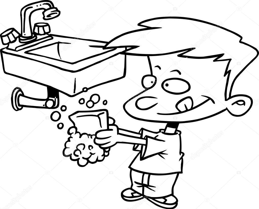 jongen zijn handen wassen stockvector
