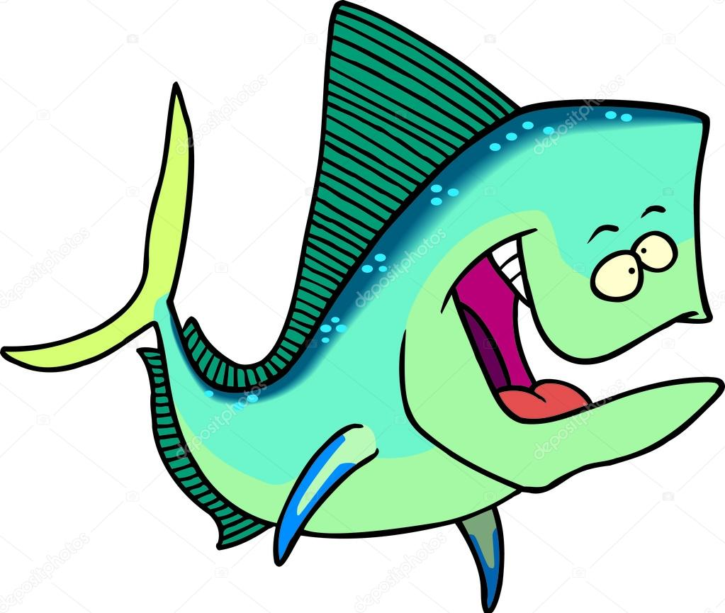 Jumping Mahi Mahi (Dolphin Fish) Illustration Photoshop clipart.  http://www.spiritgraphix.com/saltwater-fish-clipart/   Fish drawings, Mahi  fish, Fish