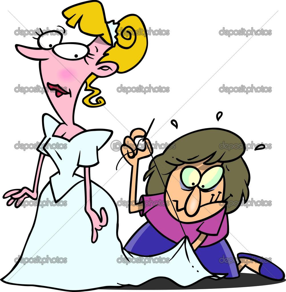Cartoon Last Minute Wedding Dress Adjustment — Stock Vector ...