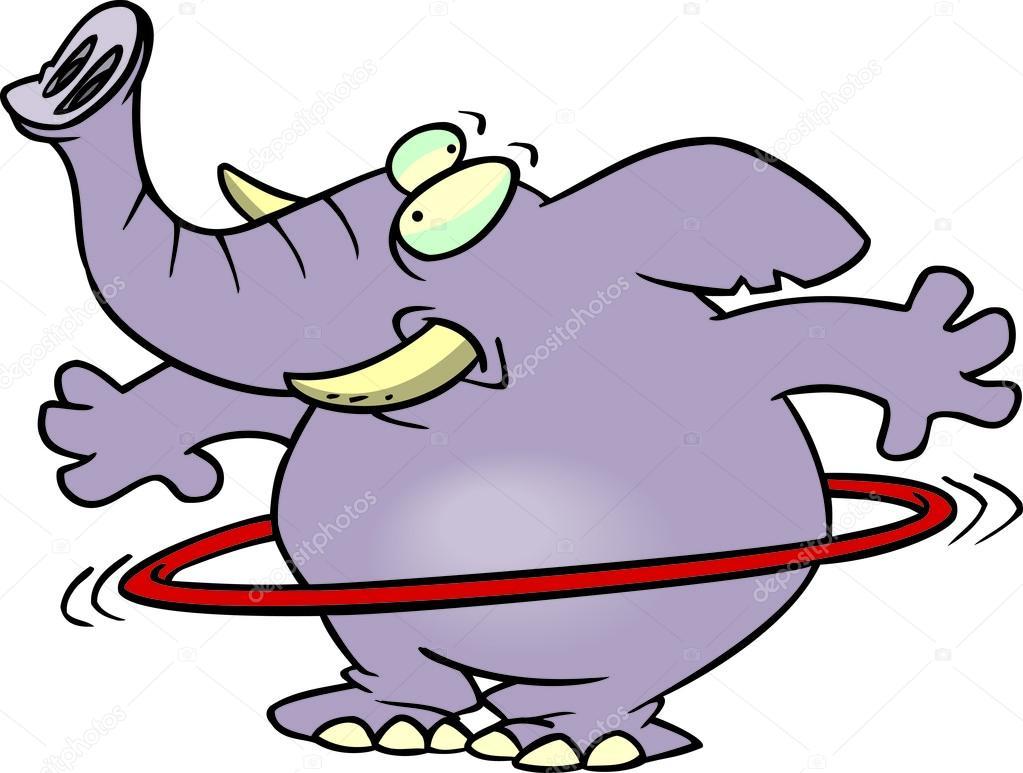 cartoon elephant hula hoop u2014 stock vector ronleishman 13941844