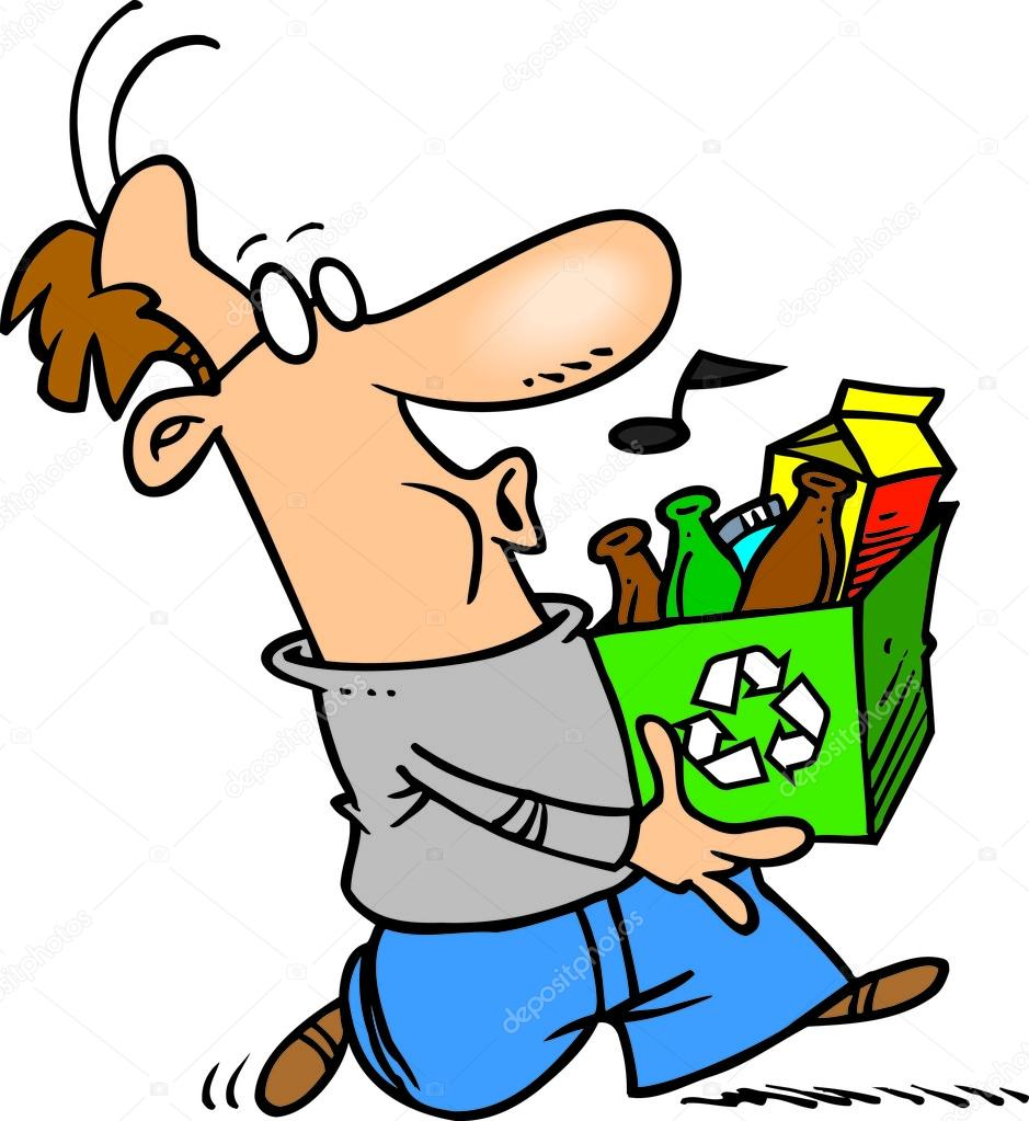 homem desenho animado reciclagem vetores de stock ronleishman