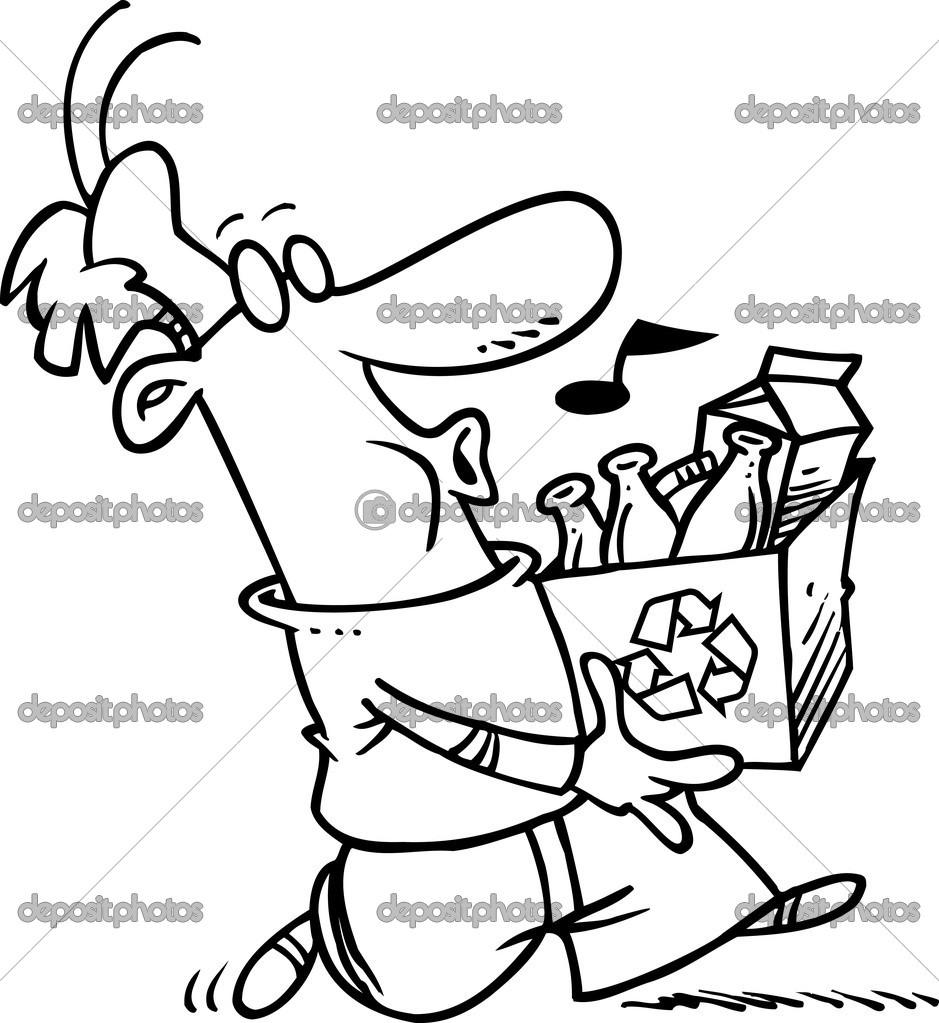 homem desenho animado reciclagem vetor de stock ronleishman