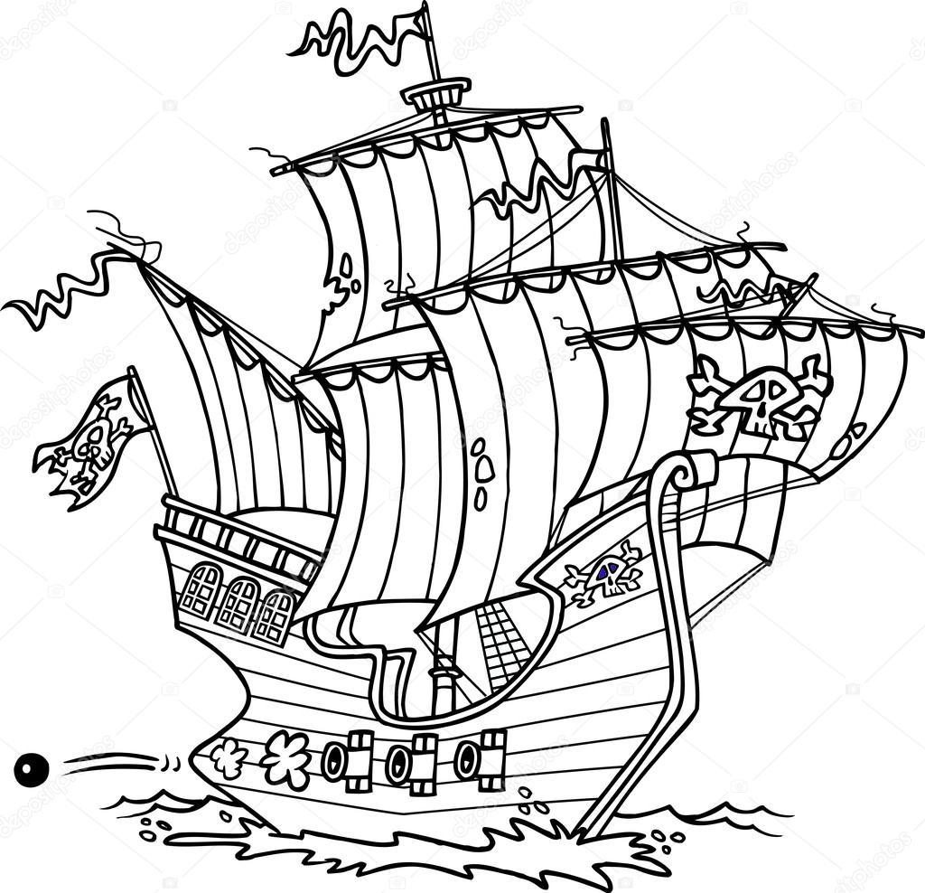 Мультипликационный пиратский корабль — Векторное ...