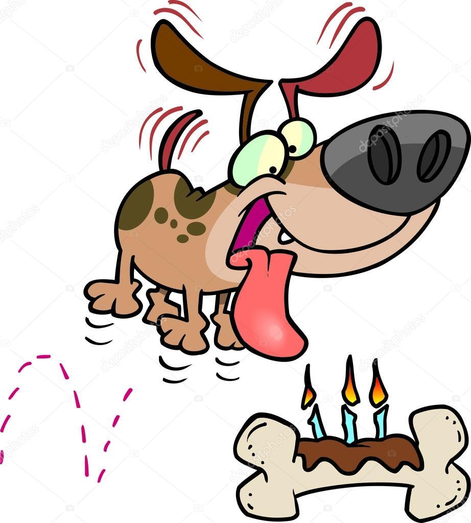 Cartone animato cane osso compleanno — vettoriali stock