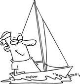 karikatura člověka plachtění