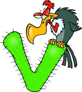 Cartoon Vulture Alphabet Letter V