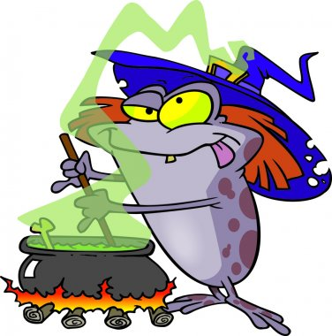 Cartoon Witch Toad Brew