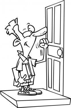 Cartoon Door to Door Salesman