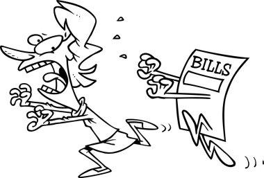 Cartoon Woman Running from Bills