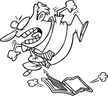 Cartoon Man Jumping on Laptop