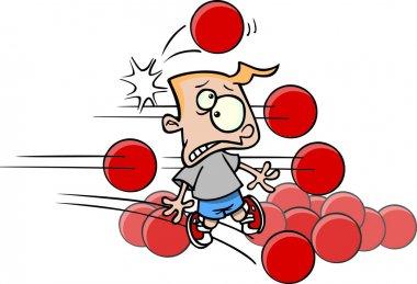 Cartoon Boy Playing Dodgeball