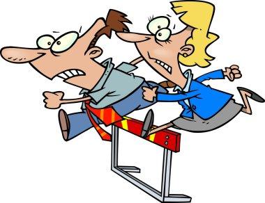Cartoon Business Hurdle