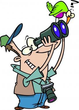 Cartoon bird watcher