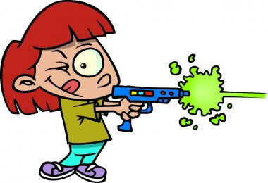 Cartoon girl with laser tag