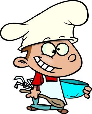 Cartoon kid cook