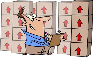 Cartoon man taking inventory