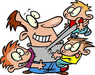 A cartoon man playing with little children