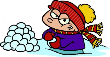 Cartoon boy making snowballs