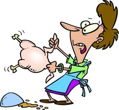 Cartoon Woman Wrestling a Turkey