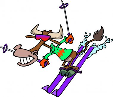 Cartoon Cow Snow Skiing