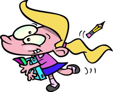 Cartoon School Girl Carrying Books