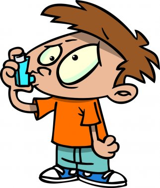 Cartoon Boy with Asthma Inhaler