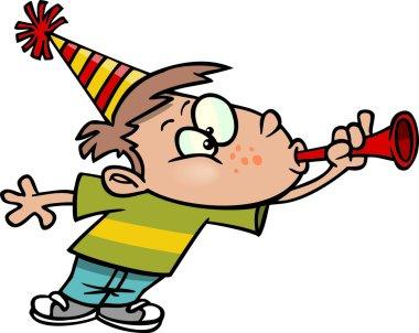 A cartoon boy celebrating the New Year stock vector