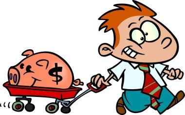 Cartoon Boy Saving Money