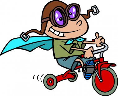 Cartoon Boy Riding a Tricycle