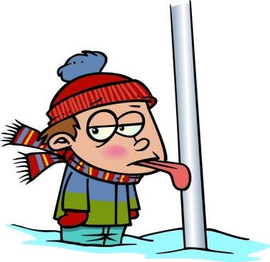 Cartoon Tongue Frozen to Flagpole