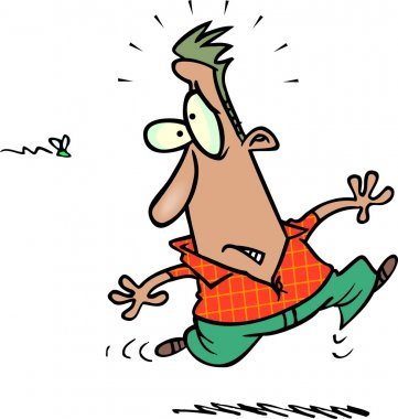 Cartoon man scared of fly