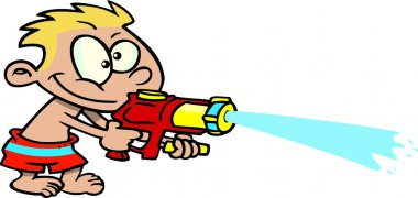 Cartoon Boy Shooting Water Gun