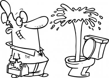 Cartoon plumber admiring a geyser in a toilet