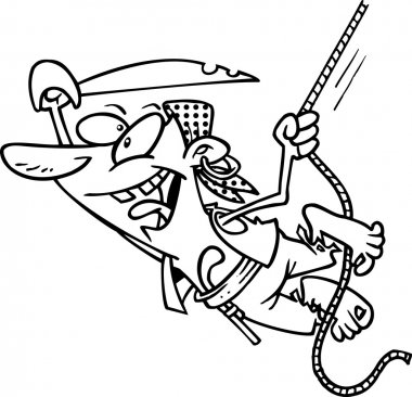 Cartoon male pirate swinging in the air while holding onto a rope