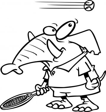 Cartoon Elephant Tennis