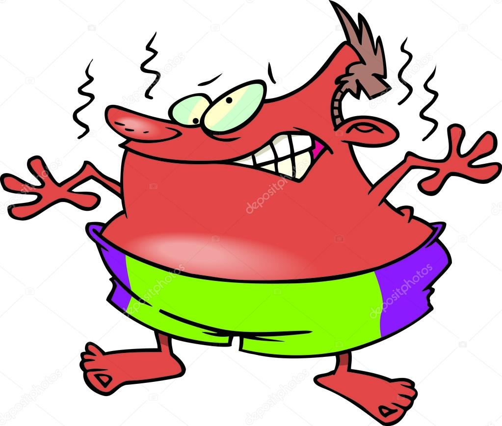 cartoon man with sunburn stock vector ronleishman 13950279 rh depositphotos com sun burn cartoon image cartoon sunburnt person