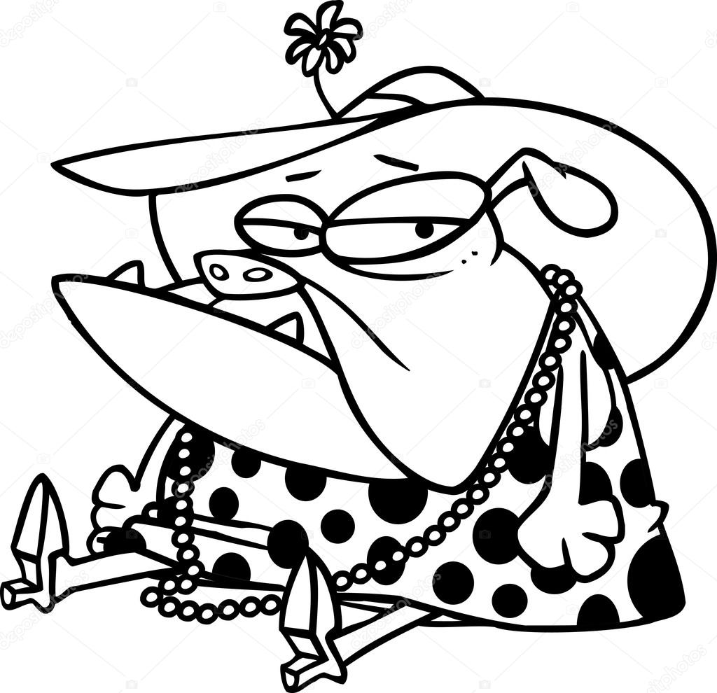 Black And White Line Art Illustration Of A Cartoon Dog Dressed In Womens Clothing Vector By Ronleishman