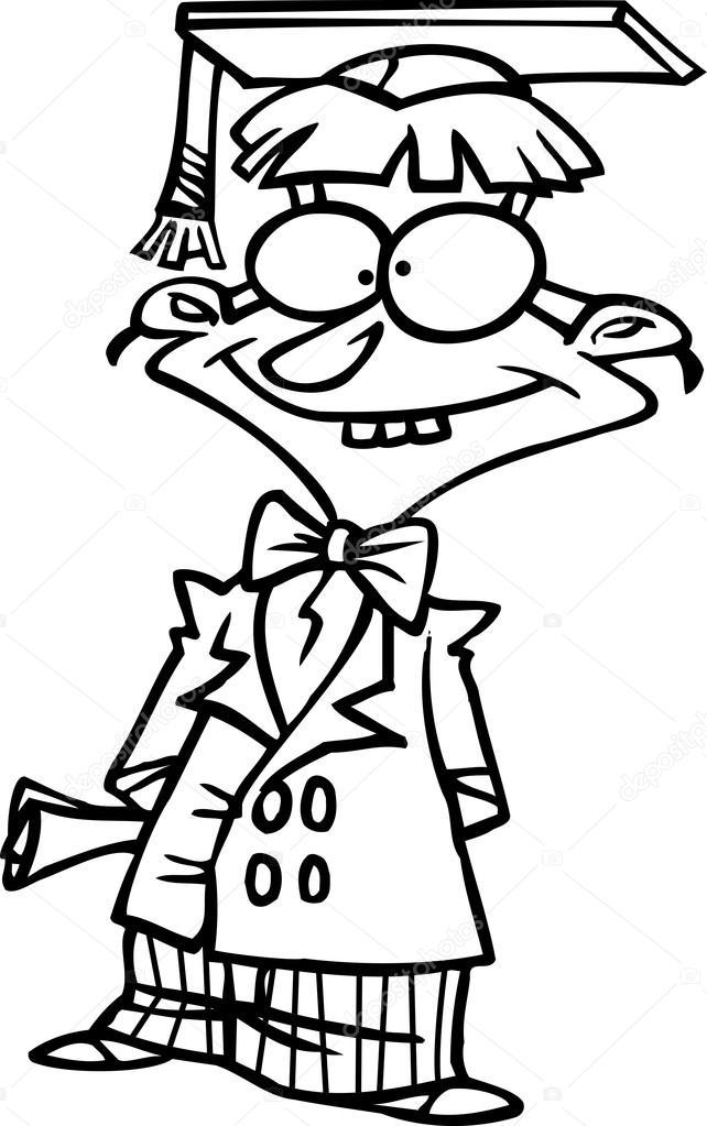 Cartoon Nerdy Teen Graduate  Stock Vector  Ronleishman -8253