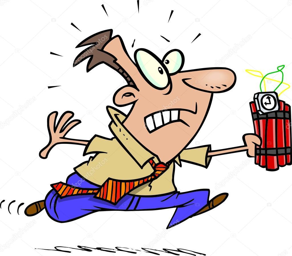 Uomo di cartone animato con bomba — vettoriali stock