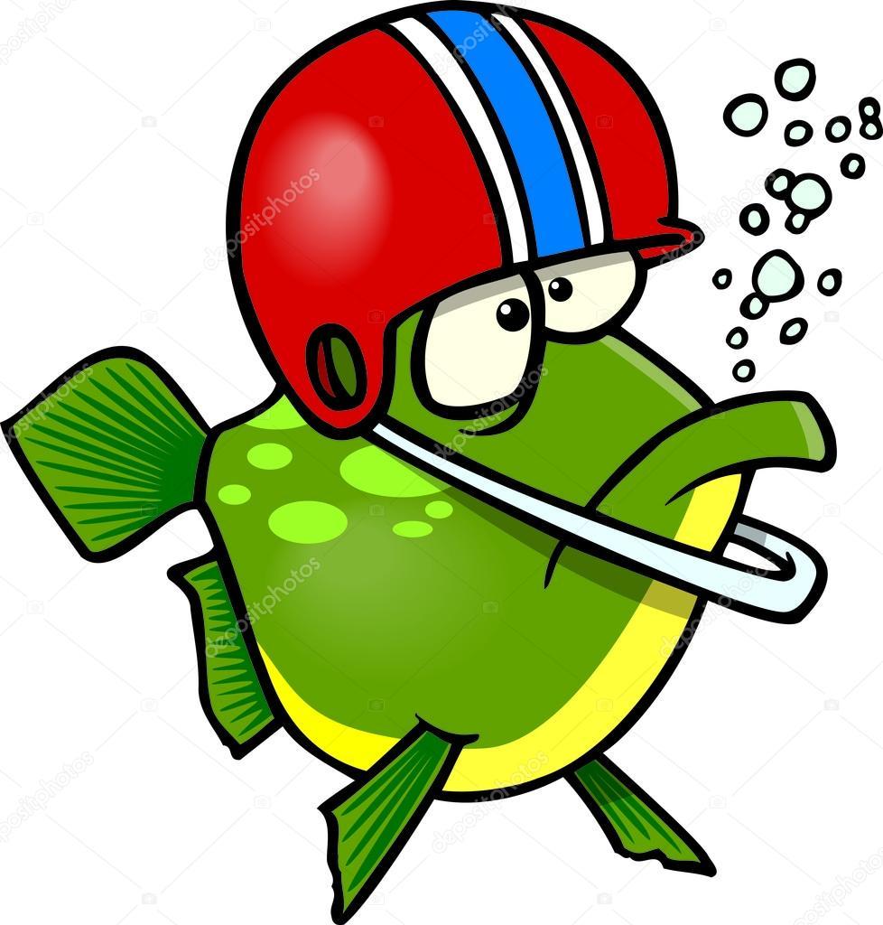 Un pesce cartone animato indossando un casco di gioco del calcio ...