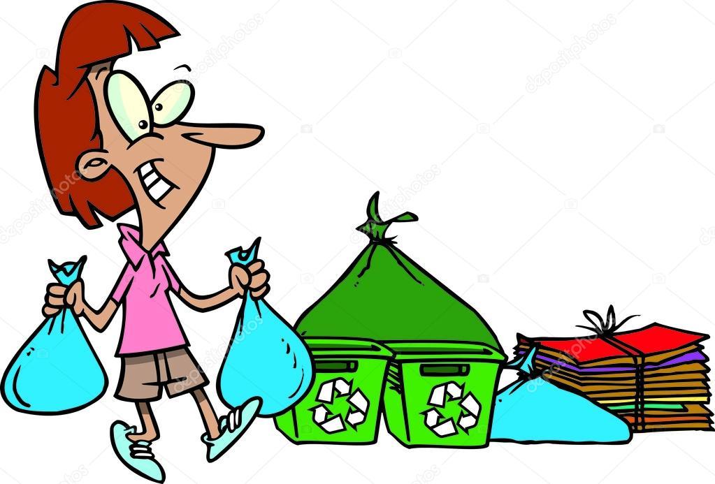 Mujer De Dibujos Animados De Reciclaje