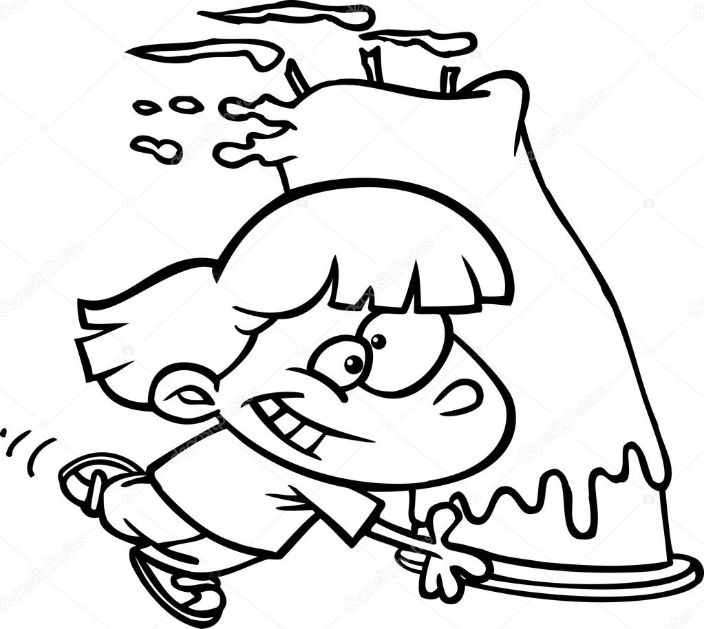 Black And White Line Art Illustration Of A Cartoon Girl Running With A Giant Birthday Cake Premium Vector In Adobe Illustrator Ai Ai Format Encapsulated Postscript Eps Eps Format