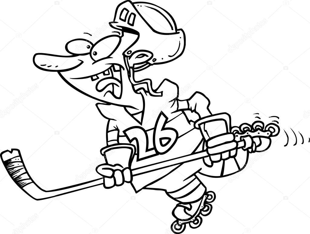 jugador de hockey caricatura patinaje — Vector de stock ...