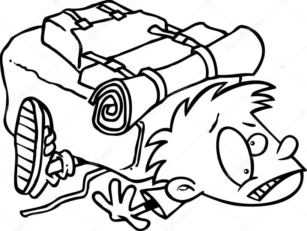 Assez sac à dos de randonnée lourd de dessin animé — Image vectorielle  NM83